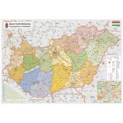 Térkép Stiefel fali 100x70 cm fakeretes Magyarország közigazgatása