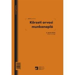 Körzeti orvosi működési napló 258 lapos könyv A/4 álló