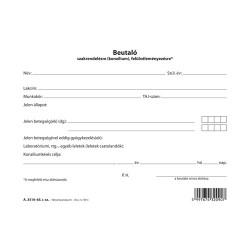Beutaló szakrendelésre szabadlap A/5 fekvő