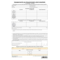 Üzembentartói jog átruházásáról szóló szerződés 4 lapos garn. A/4