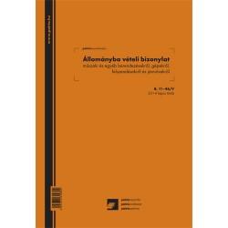 Állománybavételi bizonylat műszaki és egyéb berendezésekről 25x4 lapos tömb A/4 álló