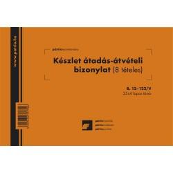 Készlet átadási-átvételi bizonylat 8 tételes 25x4 lapos tömb A/5 fekvő