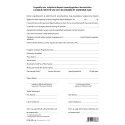Engedély más tulajdonát képező szgk. használatára 2 lapos garnitúra A/4 álló
