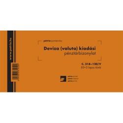 Deviza (valuta) kiadási pénztárbizonylat 50x3 lapos tömb 203x102 mm