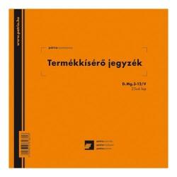 Termékkísérő jegyzék 25x4 lapos tömb