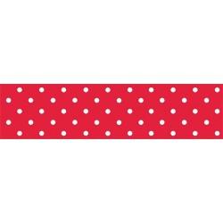 Asztalterítő 118x1000 cm papír damaszt dombornyomású pöttyös piros