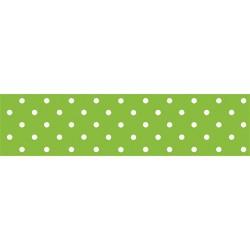 Asztalterítő 118x1000 cm papír damaszt dombornyomású pöttyös zöld