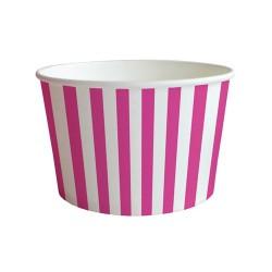 Pohár papír snack 10x6.5 cm csíkos rózsaszín 6 db/csomag