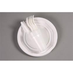 Grillszett műanyag ( 6x6 db tányér, kés, villa, pohár )