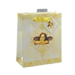 Dísztasak 33x26x11 cm glitteres angyalka krém/arany