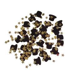 Arany csillag fekete kalapokkal konfetti 31gr./csomag