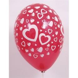Léggömb 30 cm kerek 10 db/csomag piros alapon fehér szívek