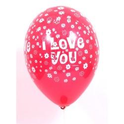 Léggömb 30 cm 10 db/csomag I Love You piros virágos