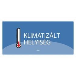 Információs tábla pd 10x20 cm Klimatizált helyiség kék