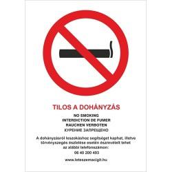 Információs tábla pd A/4 Tilos a dohányzás