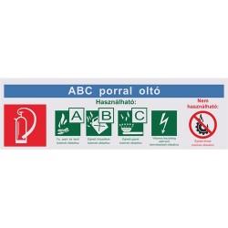 Információs tábla pd 25x8 cm ABC porral oltó