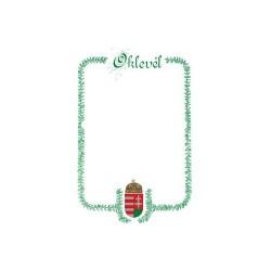 Oklevél pd A/4 álló címeres zöld