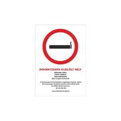 Információs matrica pd A/4 Dohányzásra kijelölt hely