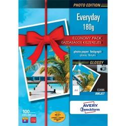 Fotópapír Avery Zweckform A/4 180g 100 lap/csomag tintasugaras fényes E2496
