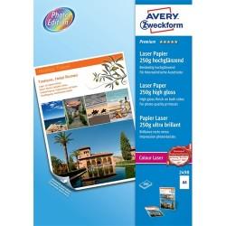 Fotópapír Avery Zweckform A/4 250g 100 lap/csomag lézer magasfényű kétoldalas 2498