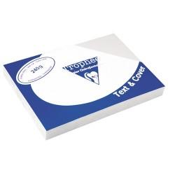 Karton bőrhatású Clairefontaine Text and Cover A/4 240g fehér 100 ív/csomag