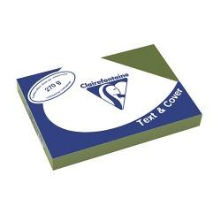 Karton bőrhatású Clairefontaine Text and Cover A/4 270g oliva zöld 100 ív/csomag