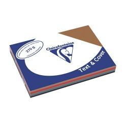 Karton bőrhatású Clairefontaine Text and Cover A/4 270g sötét vegyes szín 5x20 ív/csomag