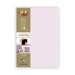 Kreatív kartonpapír Clairefontaine A/4 280g rózsaszín kockás 12 ív/csomag