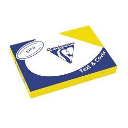 Karton textilhatású Clairefontaine Text and Cover A/4 270g napsárga 100 ív/csomag