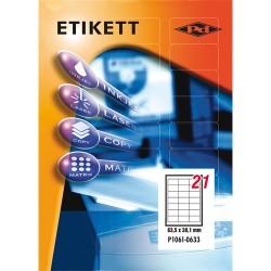 Etikett címke pd 63.5x38.1mm szegéllyel 100 ív 2100 db/doboz