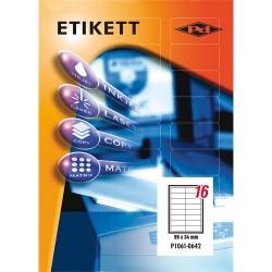 Etikett címke pd 99x34 mm szegéllyel 100 ív 1600 db/doboz