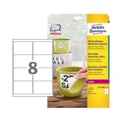 Etikett címke Avery Zweckform 99.1x67.7 mm lézer címke visszaszedhető időjárásálló poliészter fehér 20 ív 160 db/csomag