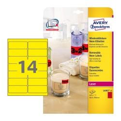 Etikett címke Avery Zweckform 99.1x38.1 mm lézer címke visszaszedhető neon sárga 25 ív 350 db/csomag L7263Y-25