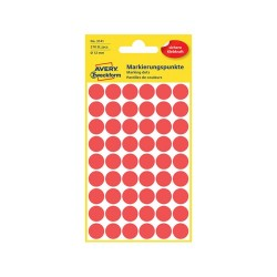 Etikett címke Avery Zweckform 12 mm kör címke piros 5 ív 270 db/csomag No.3141