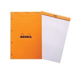 Jegyzettömb Clairefontaine Rhodia Orange A/4+ 80 lapos kockás lyukasztott