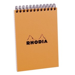 Jegyzettömb spirálos Clairefontaine Rhodia Orange A/6 80 lapos kockás
