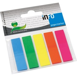 Oldaljelölő műanyag Info Notes 12x44 mm 5x25 lapos neon vegyes színek