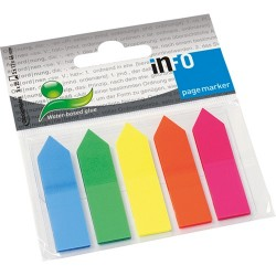 Oldaljelölő műanyag Info Notes 12x44 mm 5x25 lapos neon vegyes nyíl