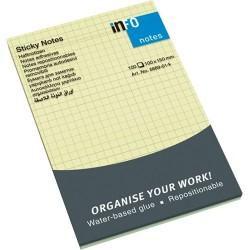 Öntapadós jegyzettömb Info Notes 100x150 mm 100 lapos sárga kockás