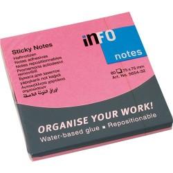 Öntapadós jegyzettömb Info Notes 75x75 mm 80 lapos élénk pink