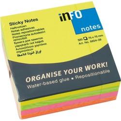 Öntapadós jegyzettömb Info Notes 75x75 mm 320 lapos élénk vegyes színek