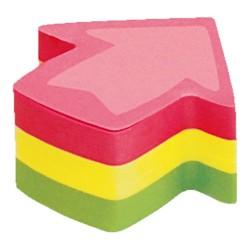 Öntapadós jegyzettömb Info Notes Cubes 50x50 mm méretből vágva 225 lapos neon vegyes színek nyíl