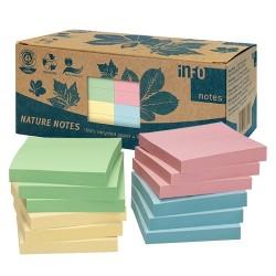 Öntapadós jegyzettömb Info Notes 75x75 mm 6x100 lapos pasztell vegyes színek környezetbarát dobozos