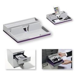 Rendszerező asztali Durable Varicolor mobil/tablet tartóval 50x190x240 mm szürke-lila