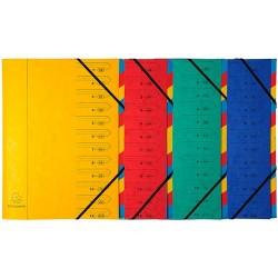 Előrendező Exacompta 245x320 mm 12 részes gumis karton vegyes színek