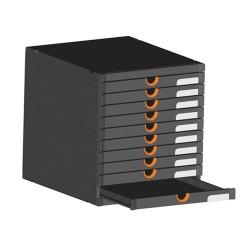 Irattartó box műanyag Exacompta Exactive Examodulo A/4+ 10 fiókos zárt fekete