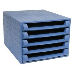 Irattartó box műanyag Exacompta Forever A/4 5 fiókos nyitott kék