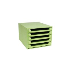 Irattartó box műanyag Exacompta Forever A/4 5 fiókos nyitott zöld