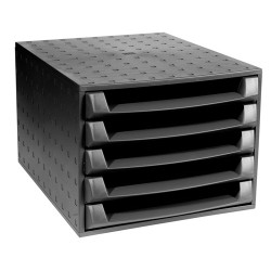 Irattartó box műanyag Exacompta 5 fiókos nyitott fekete