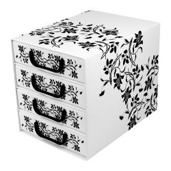 Irattartó box karton 4 fiókos zárt barokk virágok fehér